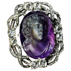 Belle Epoque Antique Amethyst Cameo Diamond Brooch Pendant