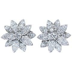 Van Cleef & Arpels Lotus Earrings, Small Model White Gold, Diamond
