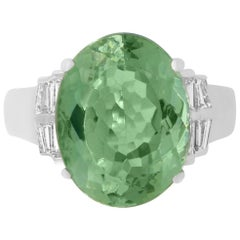 8.61 Carat Green Tourmaline and White Diamond Ring
