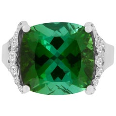 7.94 Carat Green Tourmaline and White Diamond Ring