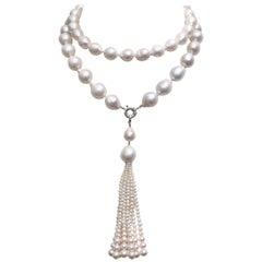 White Pearl Necklace, Double Pearl, and Tassel and 14 Karat White Gold Clasp