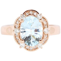 2.02 Carat Oval Aquamarine and White Diamond Ring