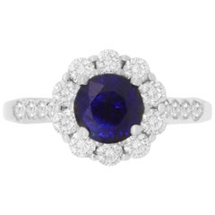 1.72 Carat Blue Sapphire and 0.93 Carat White Diamond Ring