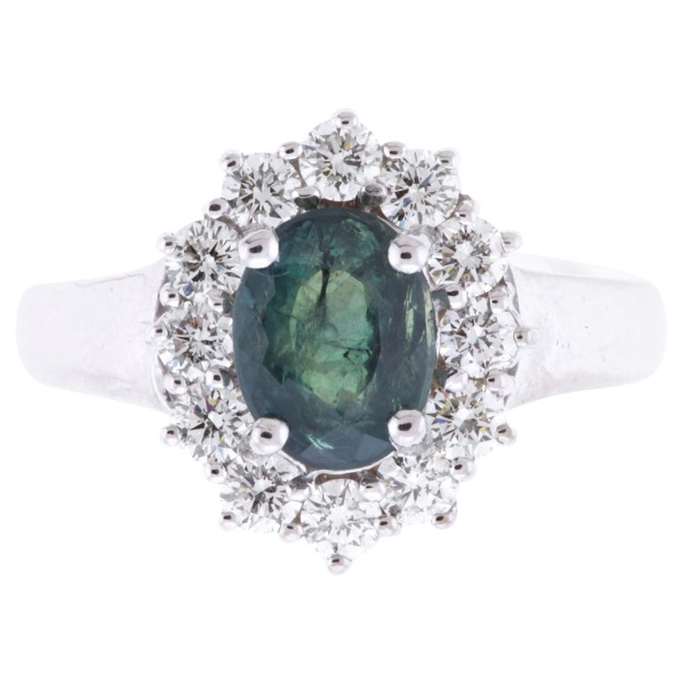 2.04 Carat Oval Natural Color Changing Alexandrite and Diamond Ring