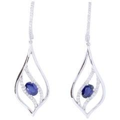 1.11 Carat Blue Sapphire and Diamond Earrings