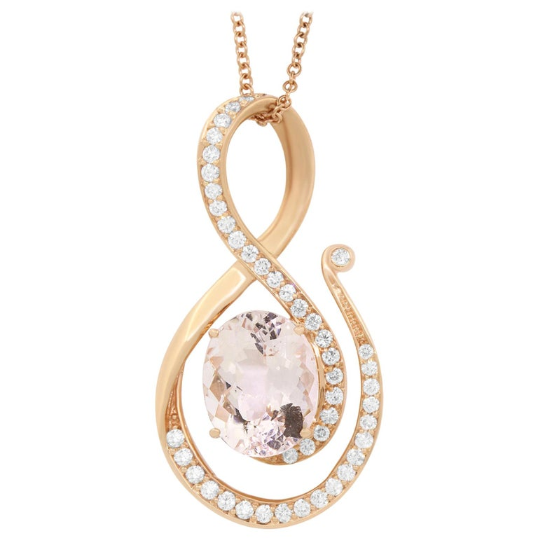 7.45 Carat Oval Pink Morganite and Diamond Pendant