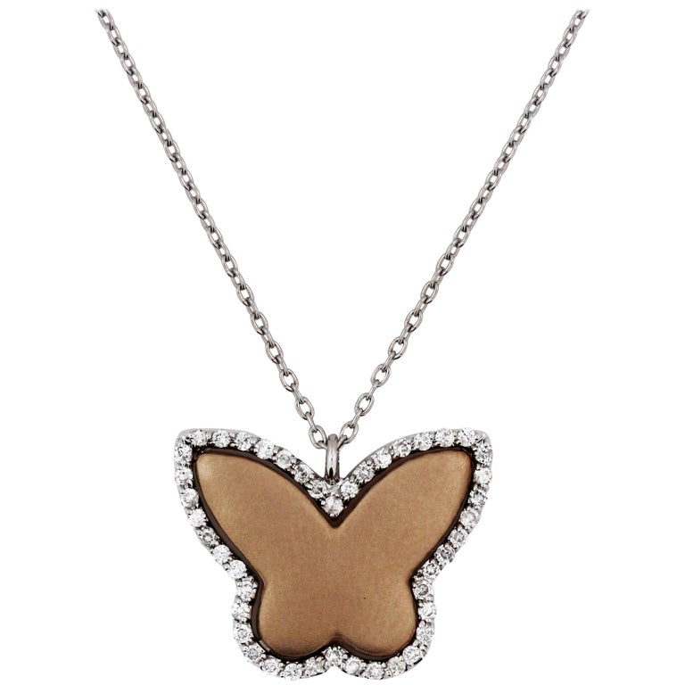 Two-Tone Rose White Gold and Diamond Butterfly Pendant Necklace