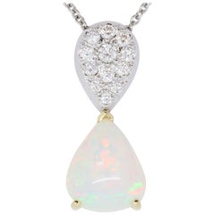 4.2 Carat Opal and White Diamond Two-Tone Pendant