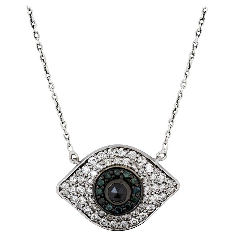 White Gold and Diamond Sapphire Black Diamond Evil Eye Pendant Necklace