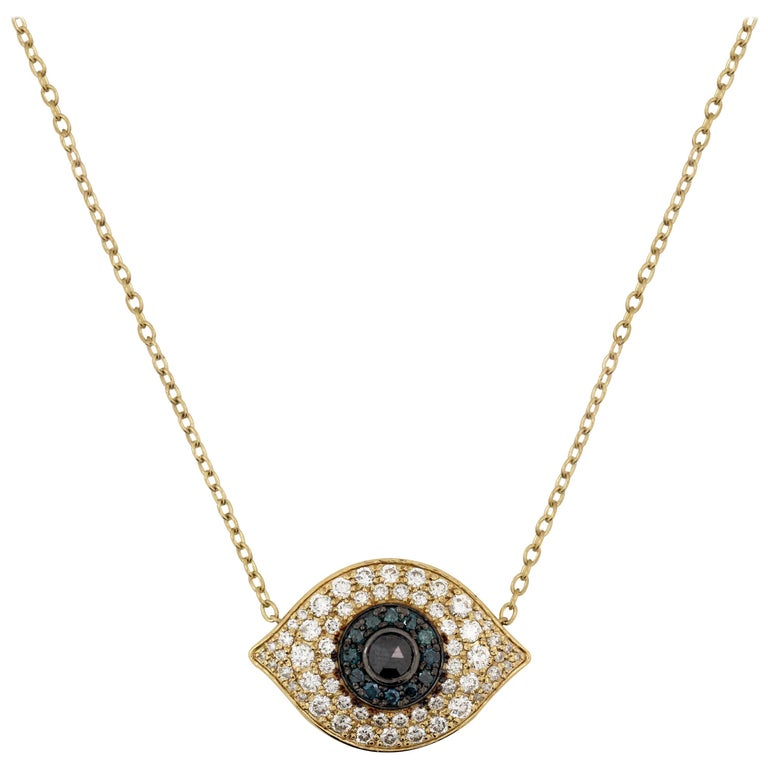 Yellow Gold and Diamond Sapphire Black Diamond Evil Eye Pendant Necklace