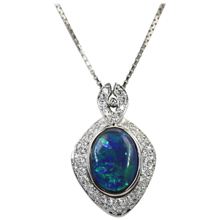 Black Opal Platinum Diamond Pendant For Sale