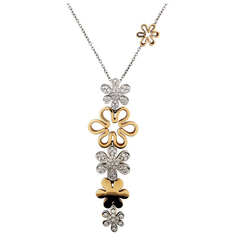 Two-Tone Rose White Gold and Diamond Floral Drop Pendant Necklace