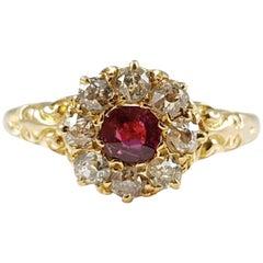 Antique 18 Karat Yellow Gold Edwardian Ruby and Diamond Cluster Ring