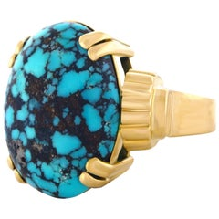 Swiss Modern Turquoise Set Gold Ring, 1950s