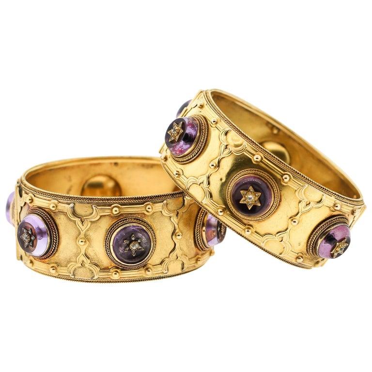 Pair of Victorian Carlo Giuliano 18 Karat Gold Amethyst Diamond Cuff Bracelets For Sale
