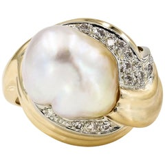Baroque Cultured Pearl and Round Diamond Ring