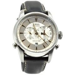 Oris Artelier Worldtimer Black Calf Skin Automatic Watch Ref 690-7581-4051LS