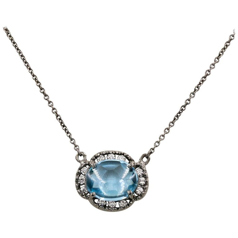 Oval Cut Cabochon Blue Topaz and Round Diamond Necklace