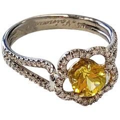 Yellow Sapphire Flower Shape and Diamond Ring in 18 Karat Gold
