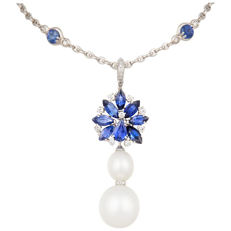 Ella Gafter Blue Sapphire Pendant Necklace Diamonds South Sea Pearl