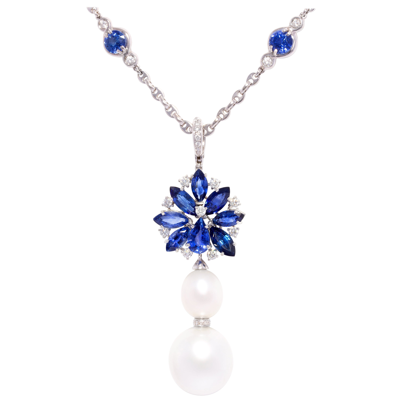 Ella Gafter Blue Sapphire Pearl Diamond Necklace