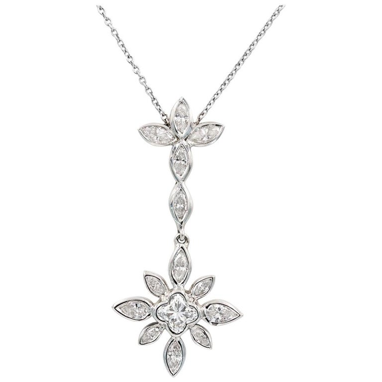 "Lester Lampert Original ""Flower"" Diamond Necklace with Lilly Cut Center"