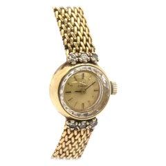 Ladies Vintage 14 Karat Yellow Gold and Diamond Omega Dress Watch