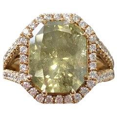 GIA Certified Green Diamond Radiant Shape Ring in 18 Karat Rose Gold