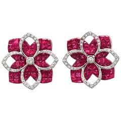 18 Karat White Gold 0.32 Carat Diamonds and Invisible 9.86 Carat Ruby Earrings