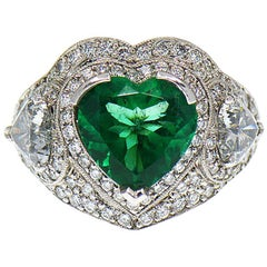 5 Carat Fine Colombian Heart Shape Emerald & Diamond Pave' Platinum Ring, GIA
