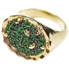Positano 18 Karat Yellow Gold Emerald Cocktail Dome Ring