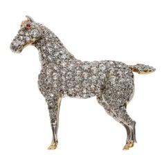 Diamond Yellow Horse Brooch, circa 1910