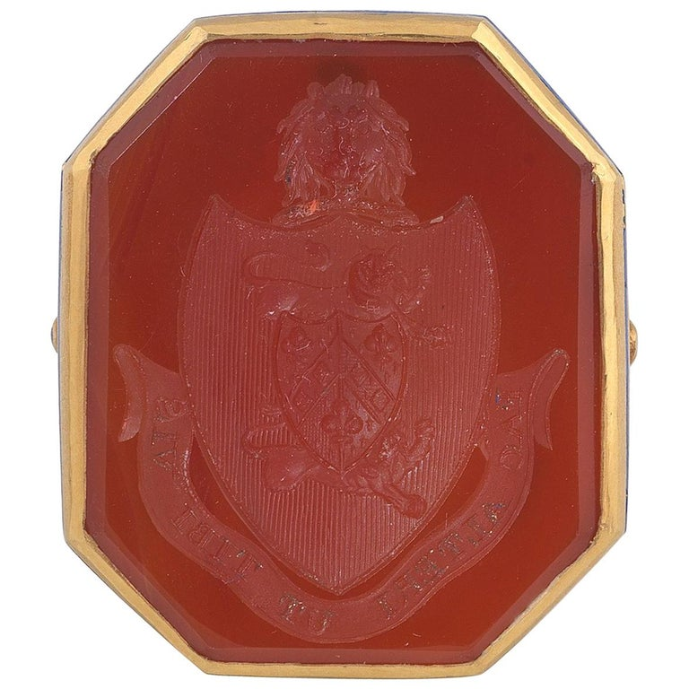 1780s French Carnelian Gold Family Crest Intaglio Ring