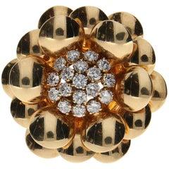 Van Cleef & Arpels Gold and Diamond Flower Brooch