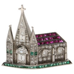 Gem Set Cathedral Brooch in Platinum, circa 1940