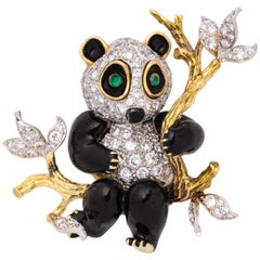 Tiffany & Co. Donald Claflin Enamel, Emerald, Diamond and Gold Brooch