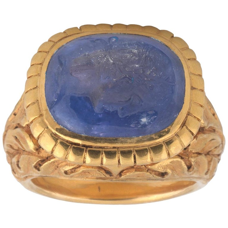 Intaglio Engraved Sapphire with Roman Caesar Augustus Italian 18th Century Ring