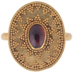 Antique Etruscan Revival Garnet Ring