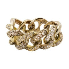 Champagne Brown Diamond 18kt Yellow Gold Interlocking Link Chain Cocktail Ring