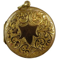 Antique Gold Locket, Hand Engraved, Birmingham, 1905