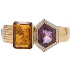 Bangle with Amethyst and Citrine, 750 Yellow Gold