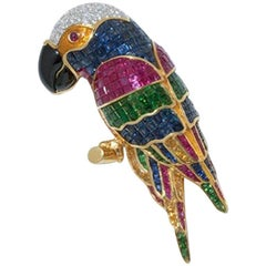 Parrot Shaped Brooch Set with Precious Stones, 750 Yellow Gold