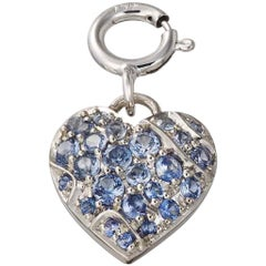 Heart Pendant Handcrafted in Palladium and Platinum with Blue Sapphires