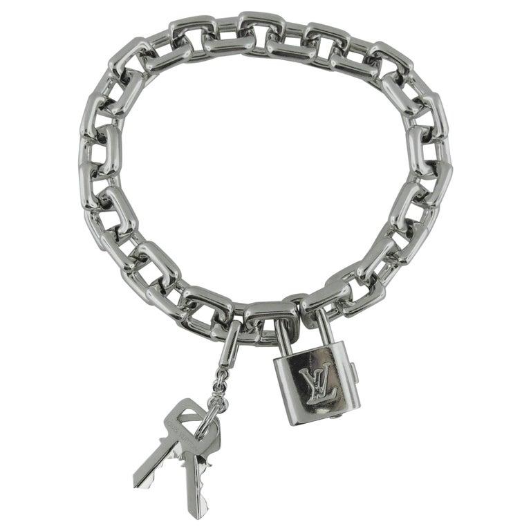 "Louis Vuitton 18 Karat White Gold ""Pad Lock and Keys Charm Bracelet"
