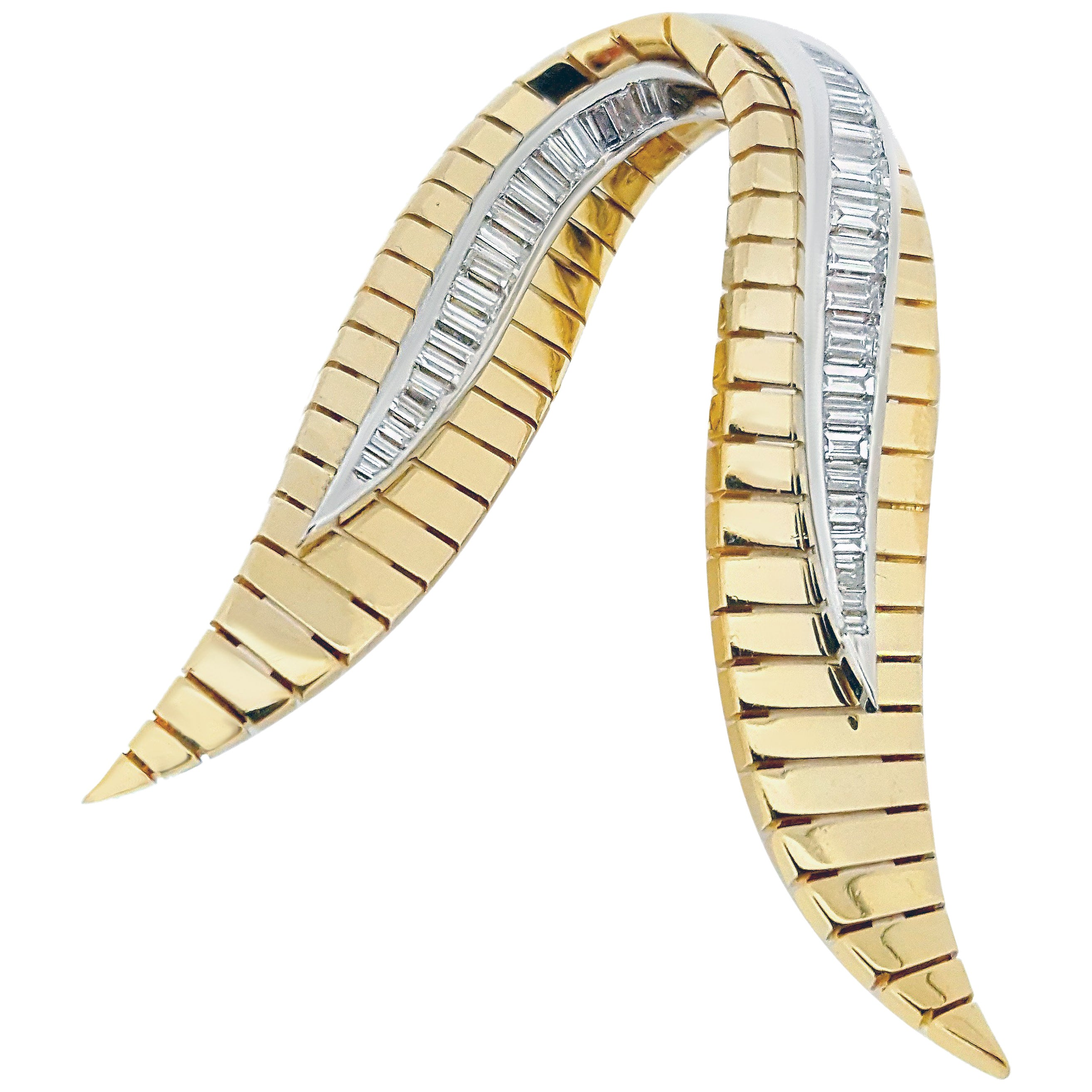 Retro Yellow and White Gold Baguette Diamond Brooch