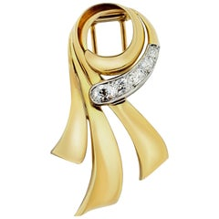 Chaumet 1950s Diamond Ribbon Brooch