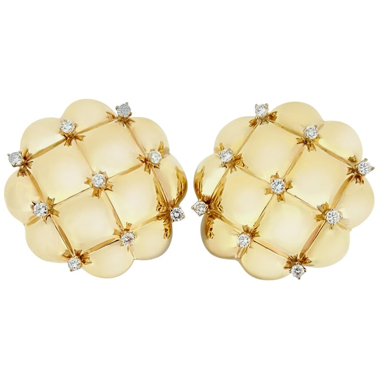 Quilted Pattern Yellow Gold and Diamond Clip Earrings
