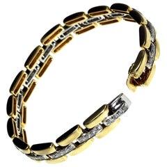 Heavy 18 Carat White and Yellow Gold Diamond Bracelet
