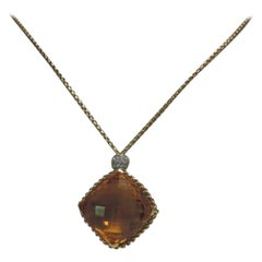 David Yurman 18 Karat Yellow Gold Cushion Point Citrine Pendant Diamond Necklace