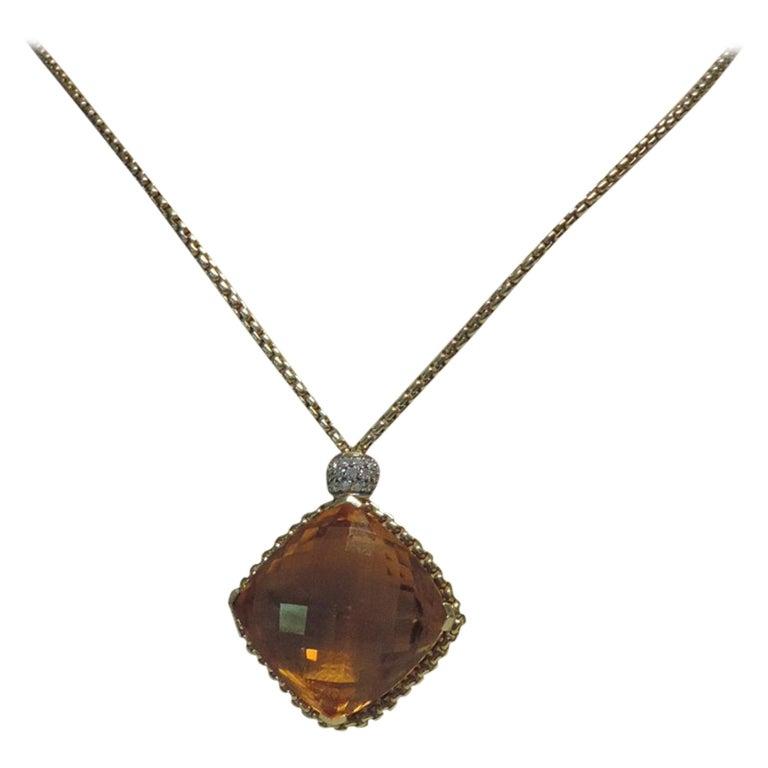 David Yurman 18 Karat Yellow Gold Cushion Point Citrine Pendant Diamond Necklace